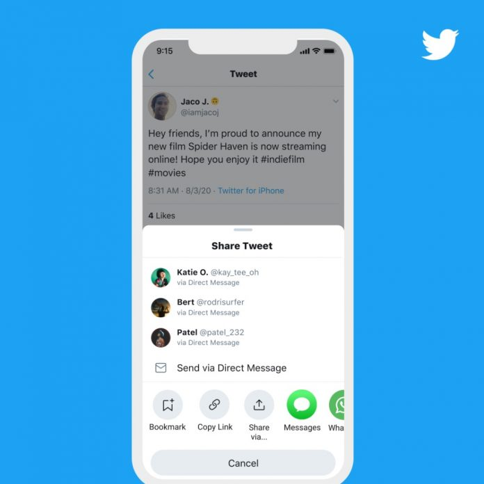 Twitter Rolls Out New 'Share Tweet' Menu in iOS App