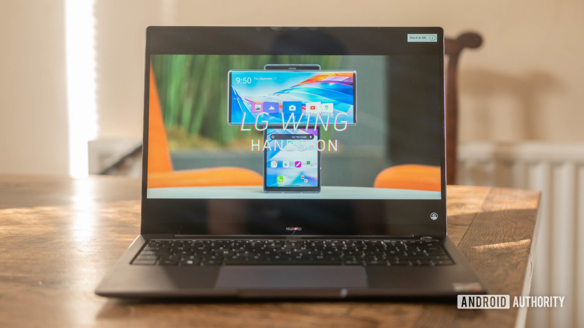 Huawei Matebook 14 2020 AMD watching an Android Authority YouTube video