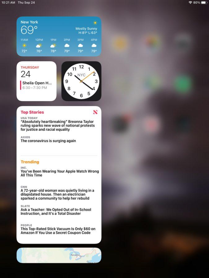 Apple iPad 2020 iPadOS 14 customized widget bar
