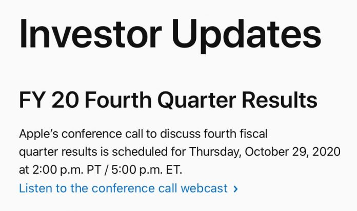 Apple to Announce Q4 2020 Earnings on October 29