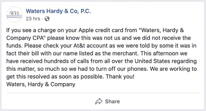 Apple Card Mislabeling AT&T Charges as 'Waters, Hardy & Co' Leading to Customer Confusion