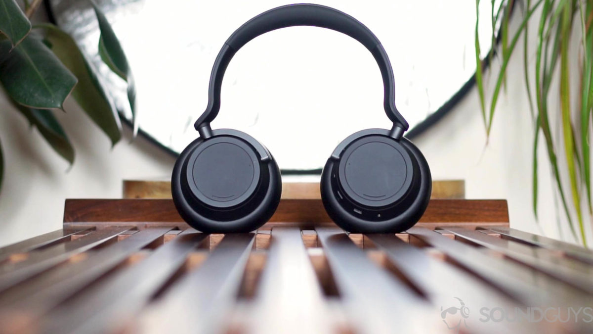A picture of the Microsoft Surface Headphones 2 noise-cancelling headphones on a bench.