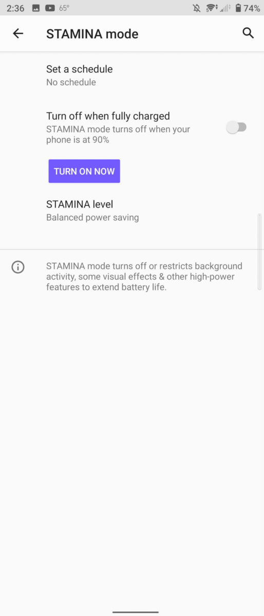 Sony Xperia 5 II battery stamina mode