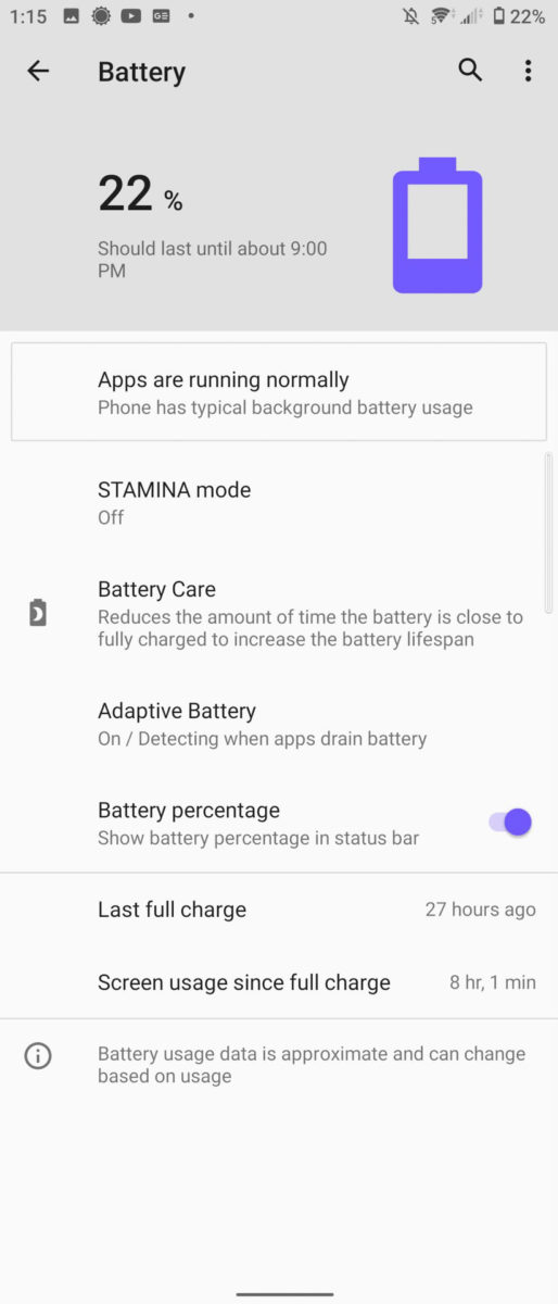 Sony Xperia 5 II battery liufe 8 hours