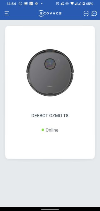 Ecovacs Home landing page with Deebot Ozmo T8