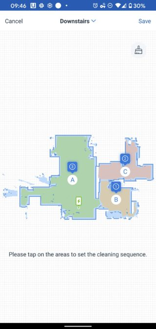 Ecovacs Home downstairs map set cleaning sequence