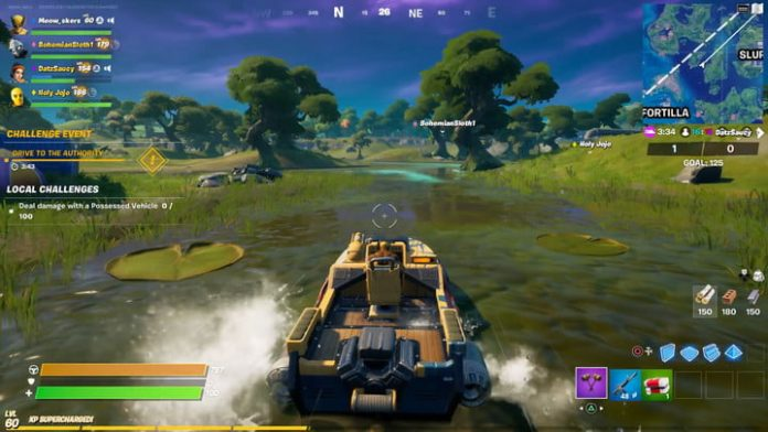 Fortnite season 4 week 10 challenge guide: How to drive a boat from The Fortilla to The Authority