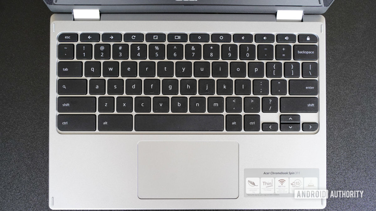 Acer Chromebook Spin 311 keyboard and trackpad