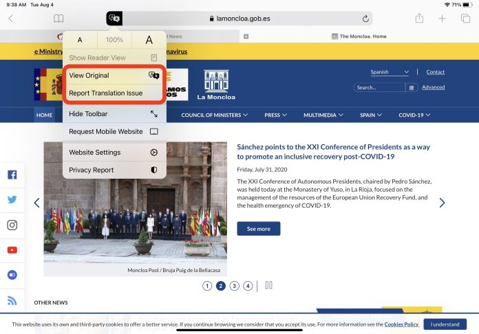 Safari Webpage Translation Feature Reportedly Working in More Countries