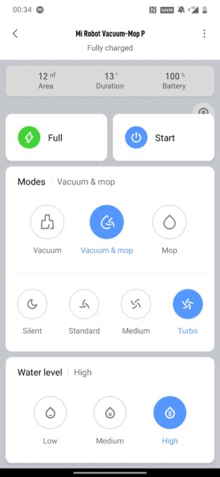 Mi Robot Vacuum P map page home settings