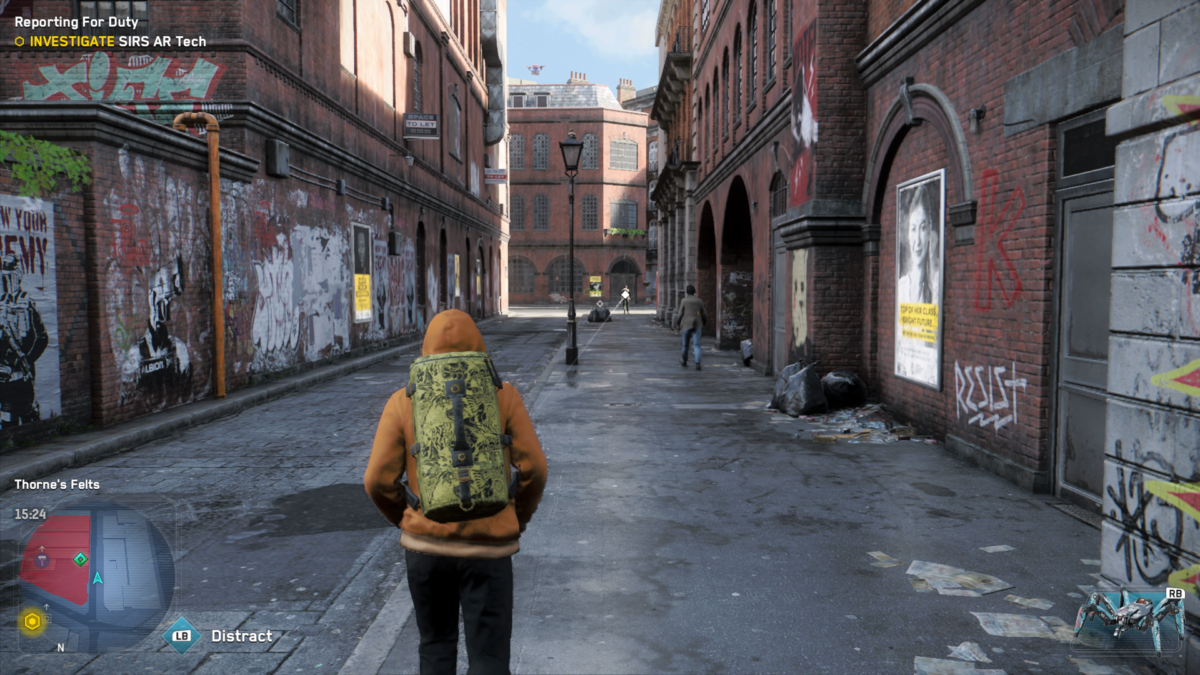 Xbox Series S screenshot of Watchdogs Legion with a character walking down an alley