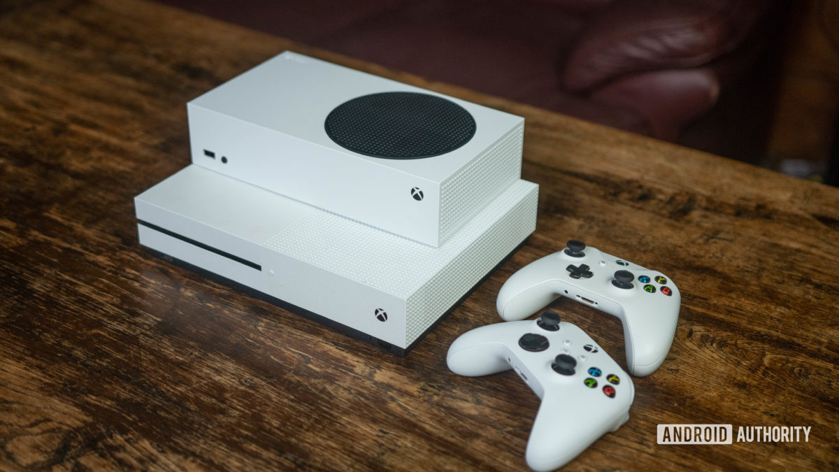 Xbox Series S and One S controller and consoles on a table