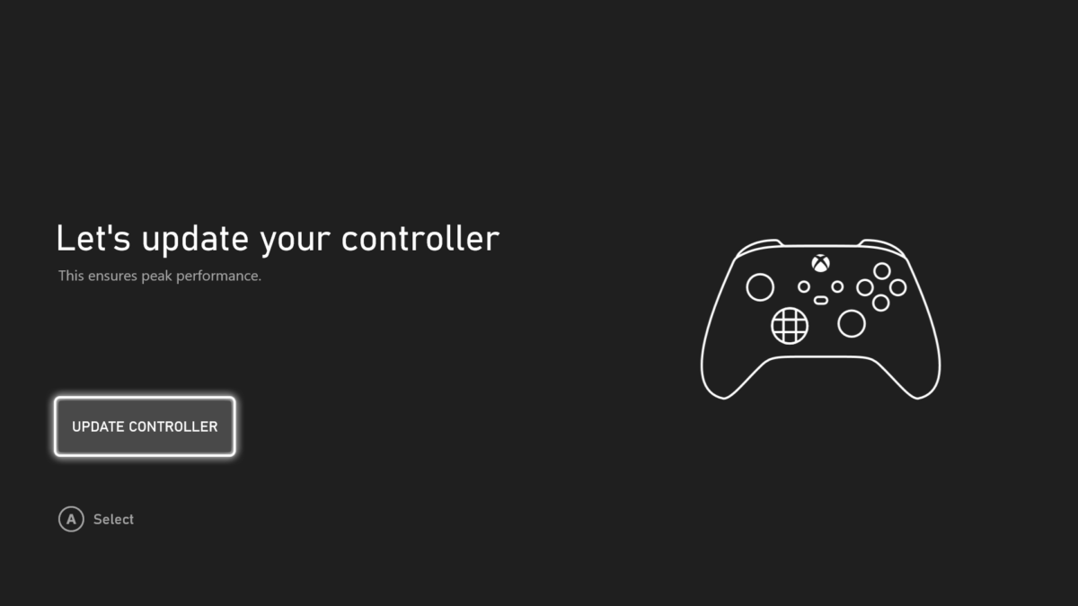 Xbox Series S controller update screen