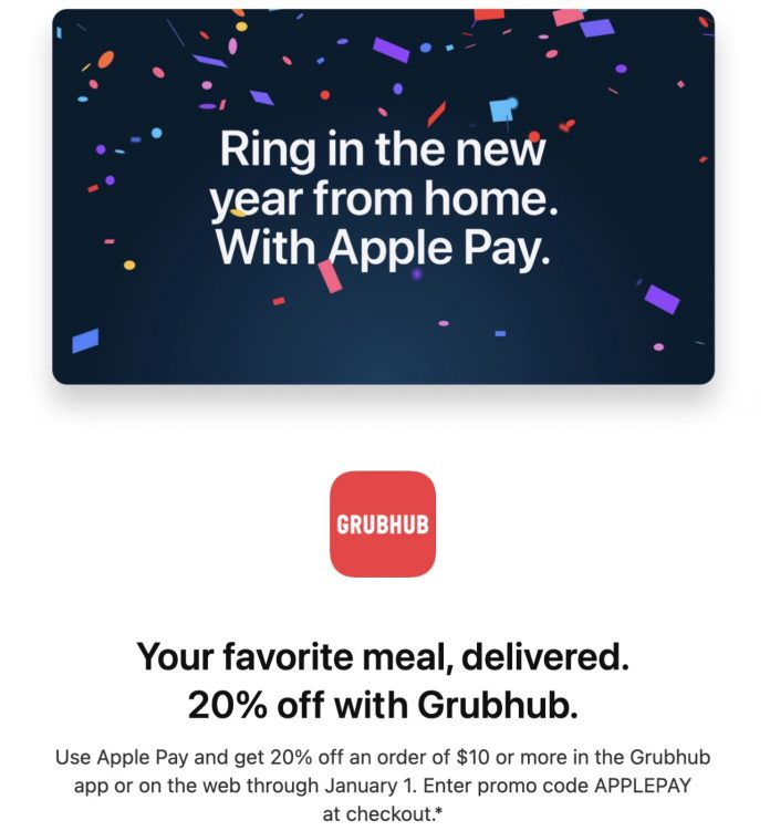 Apple Pay Promo Offers 20% Off Grubhub Purchase of $10 or More