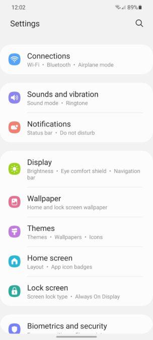 Samsung Galaxy S21 One UI 3.1 Settings