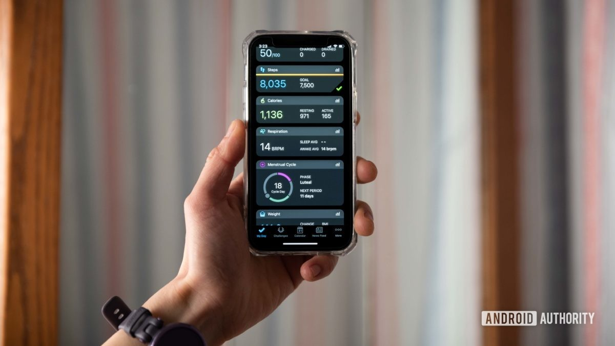 The Garmin Connect mobile app displays information on an iPhone 12 Mini.