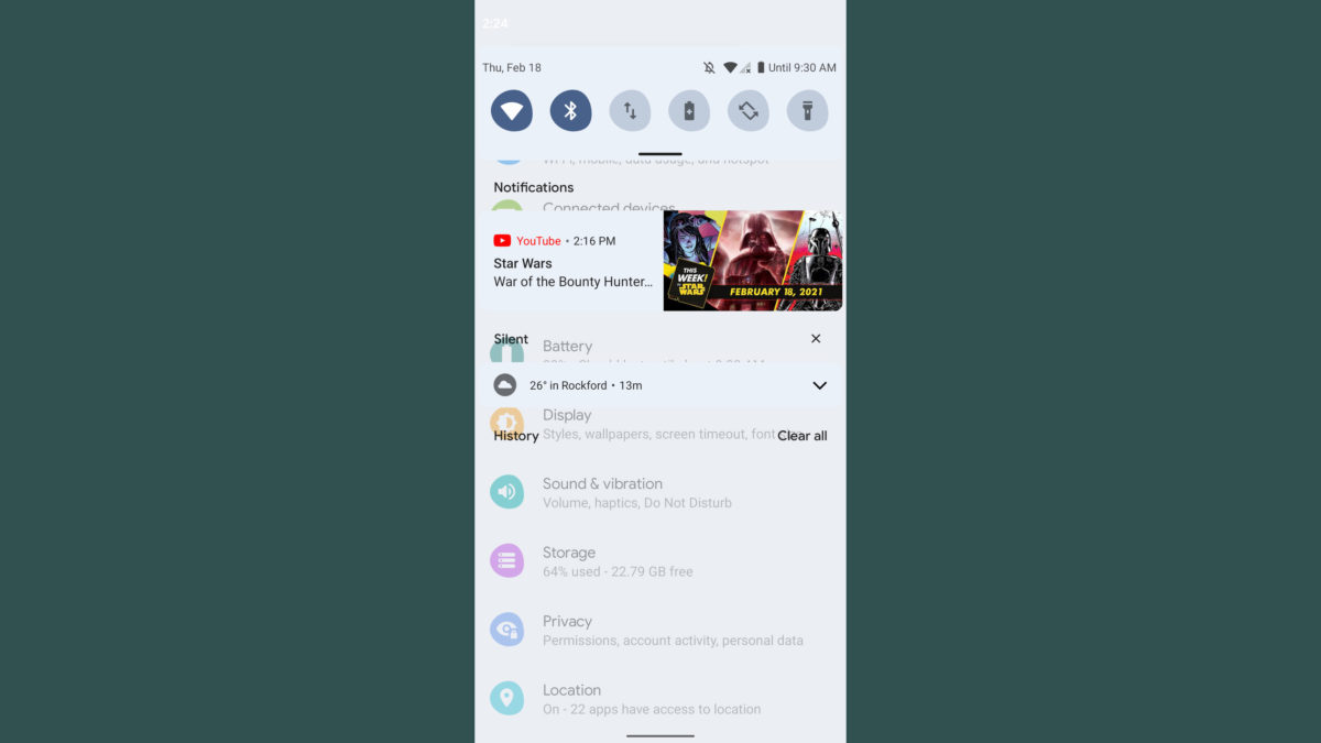 android 12 developer preview 1 notification shade blur with settings menu 1