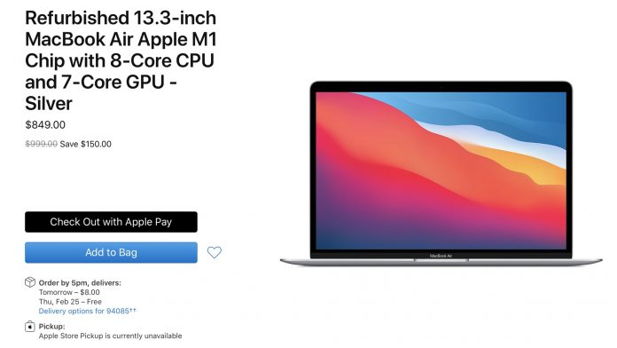Apple Now Selling Refurbished M1 MacBook Air Models Priced Starting at $849