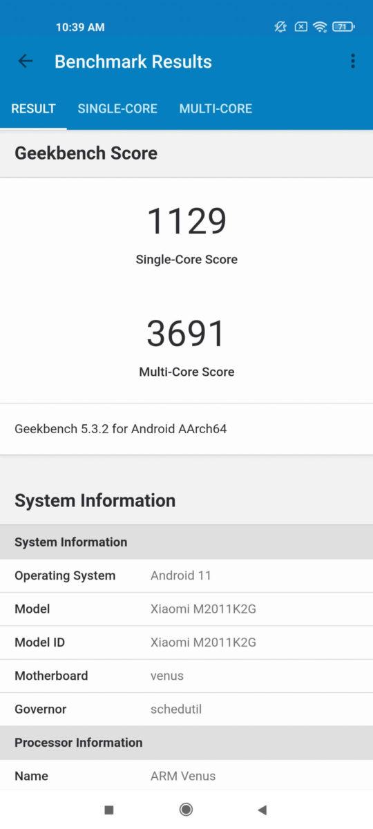 Xiaomi Mi 11 MIUI 12 geekbench 5