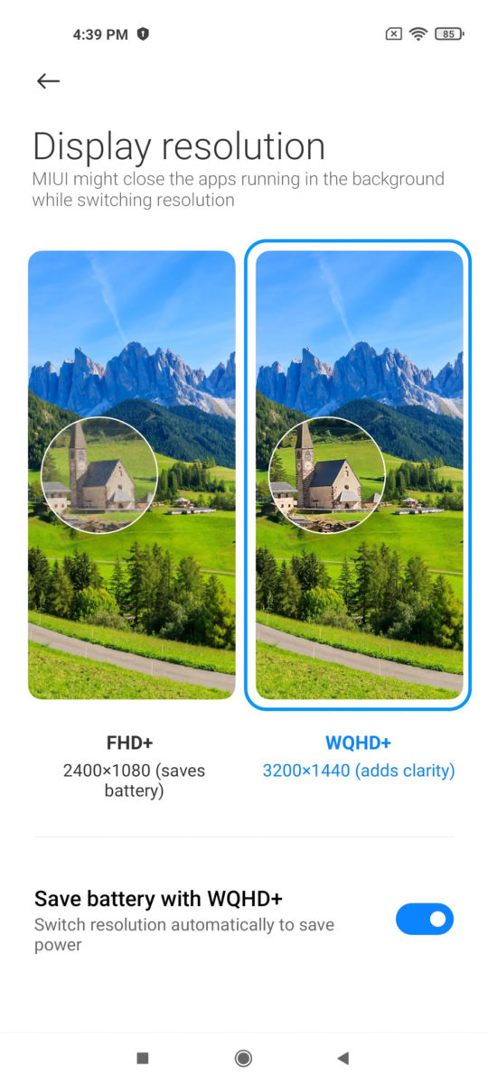 Xiaomi Mi 11 MIUI 12 display resolution