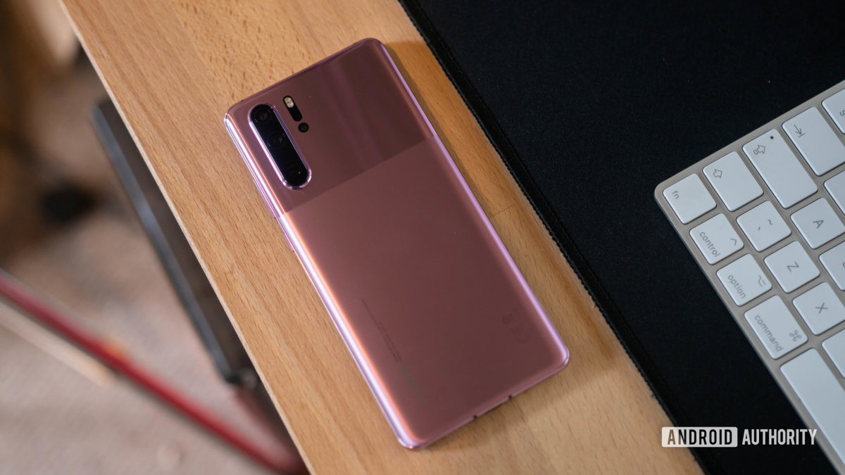 Huawei P30 Pro rear panel sat on a desk at an angle