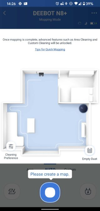 Ecovacs Home Deebot Ozmo N8 mapping instructions