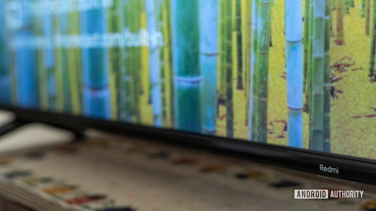 Xiaomi Redmi X65 TV focus on logo