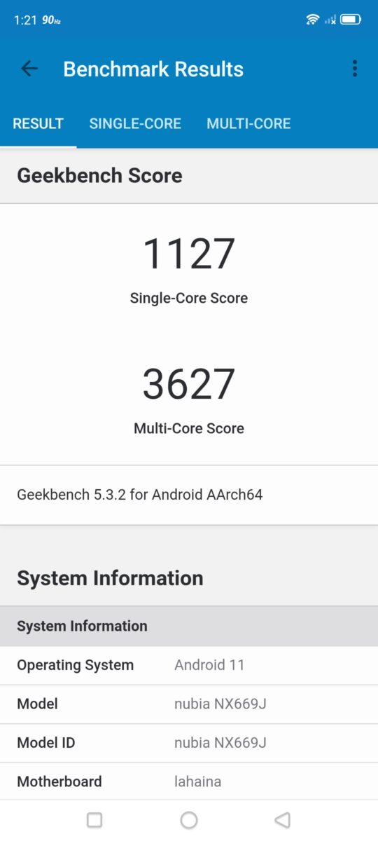 Red Magic 6 Geekbench 5 scores