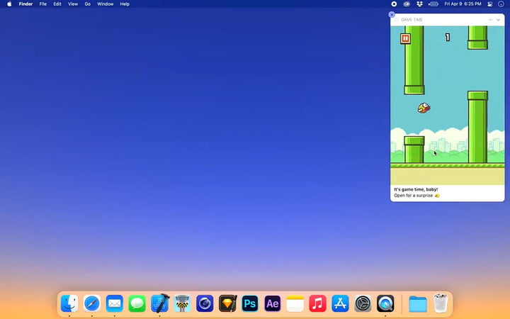 Flappy Bird inside a MacOS notification