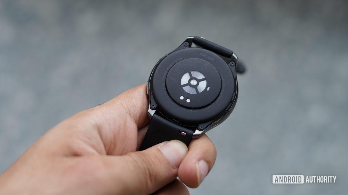 OnePlus Watch showing rear sensors