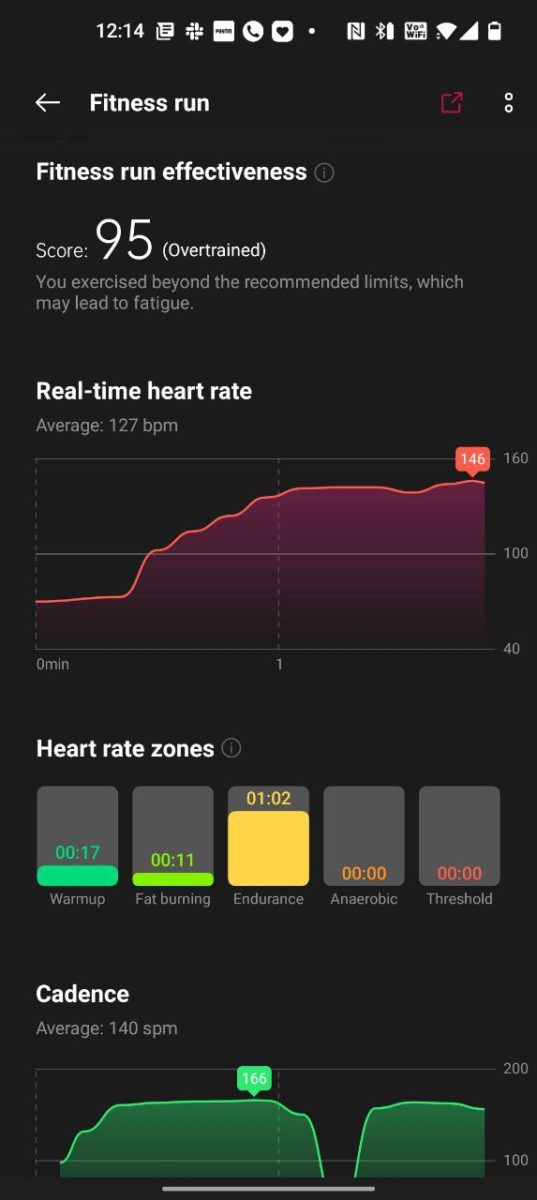 OnePlus Health run heart rate