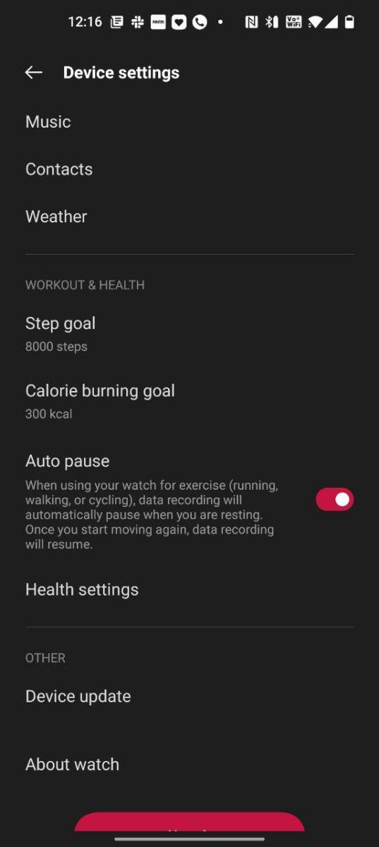 OnePlus Health device settings