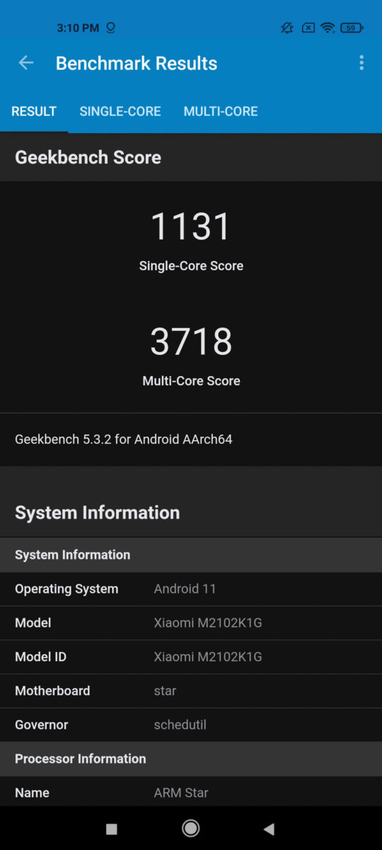 Xiaomi Mi 11 Ultra GeekBench 5