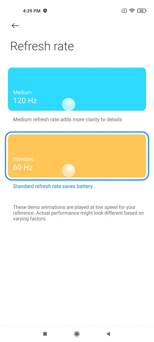 Xiaomi Mi 11 MIUI 12 refresh rate
