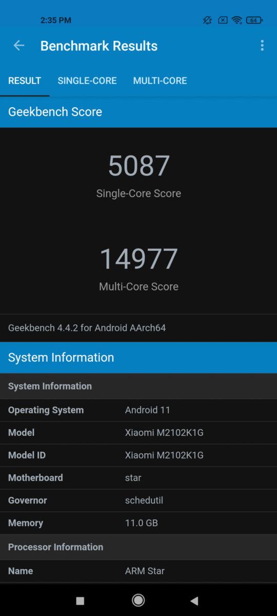 Xiaomi Mi 11 Ultra GeekBench 4