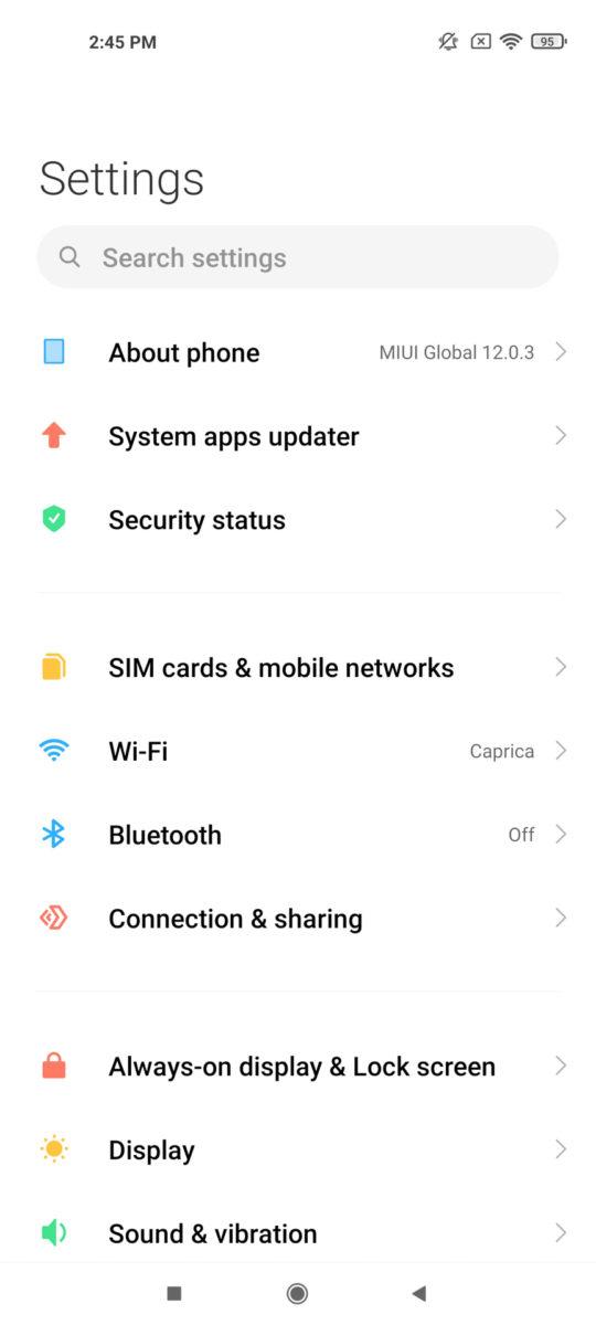 Xiaomi Mi 11 Ultra settings