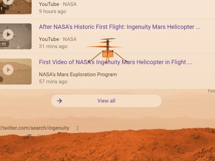Ingenuity Mars Helicopter takes flight on your Google Search page