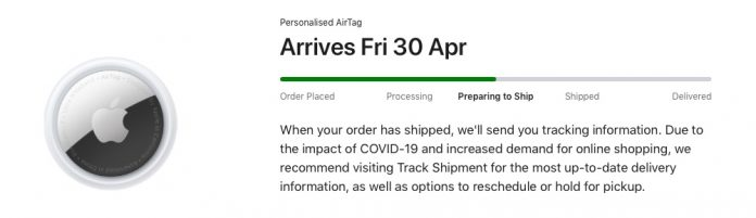 First AirTag Orders Shift to 'Preparing to Ship' Ahead of April 30 Launch