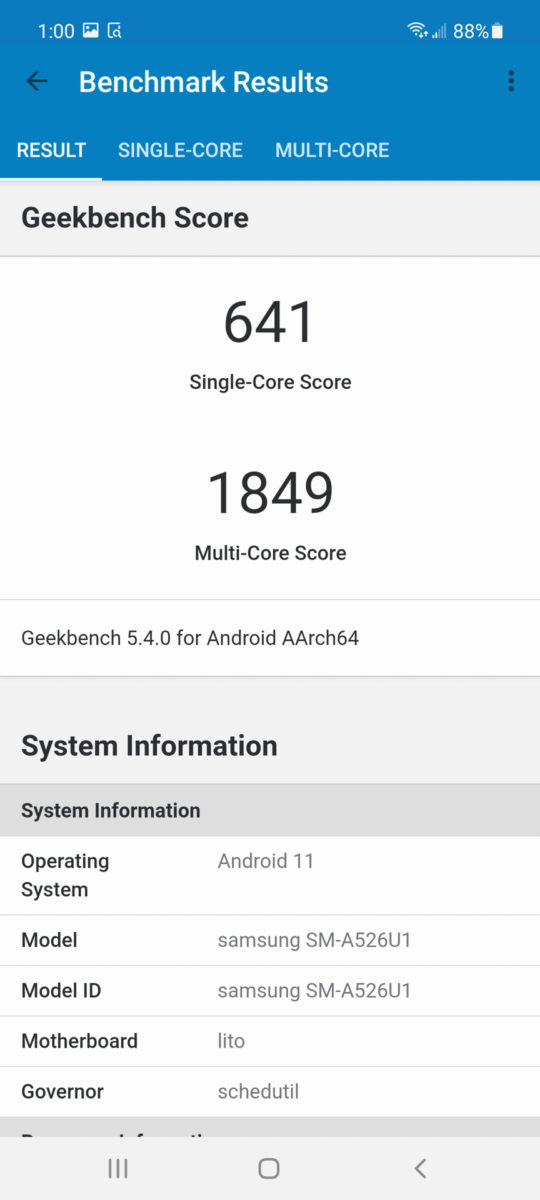 Samsung Galaxy A52 5G geekbench 5