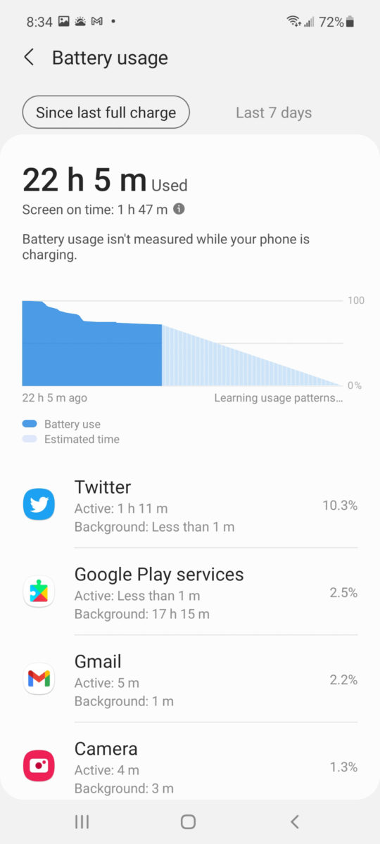 Samsung Galaxy A52 5G battery 2