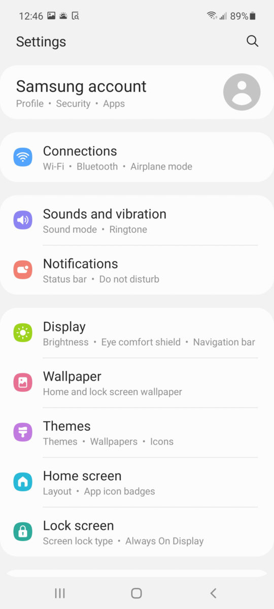 Samsung Galaxy A52 5G settings screen