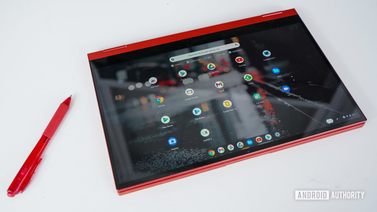 Samsung Galaxy Chromebook 2 with optional red pen