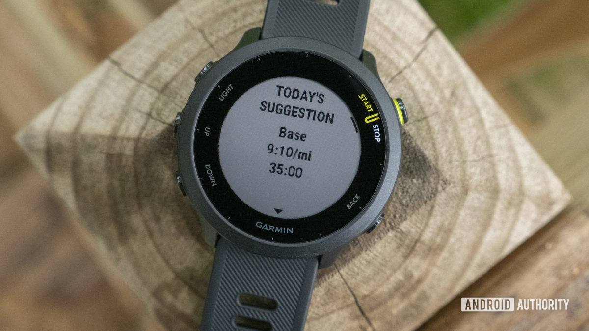Garmin Forerunner 55 review daily suggested workouts todays suggestion