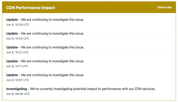 Fastly CDN Server Issue Brings Down Swathes of Websites [Update: Solved]