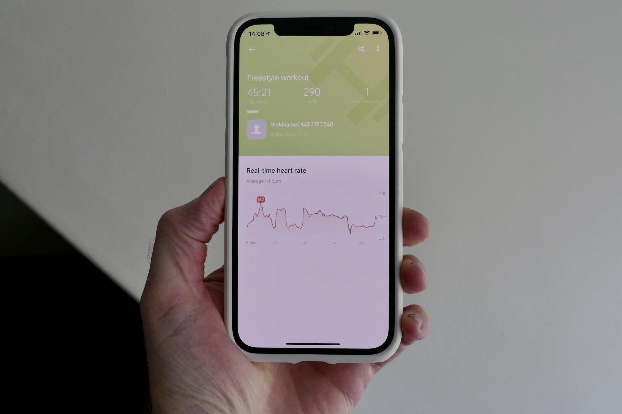 Oppo HeyTap app workout screen