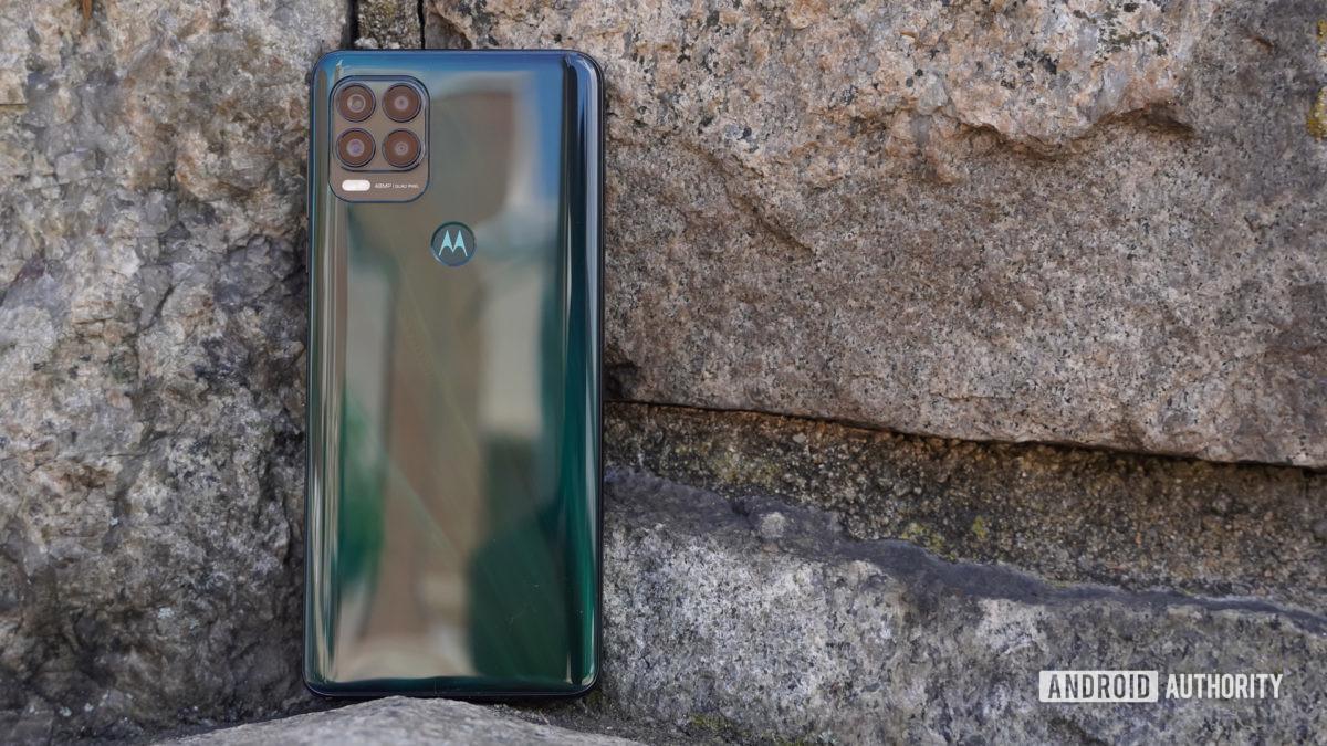 Motorola Moto G Stylus 5G rear on rock