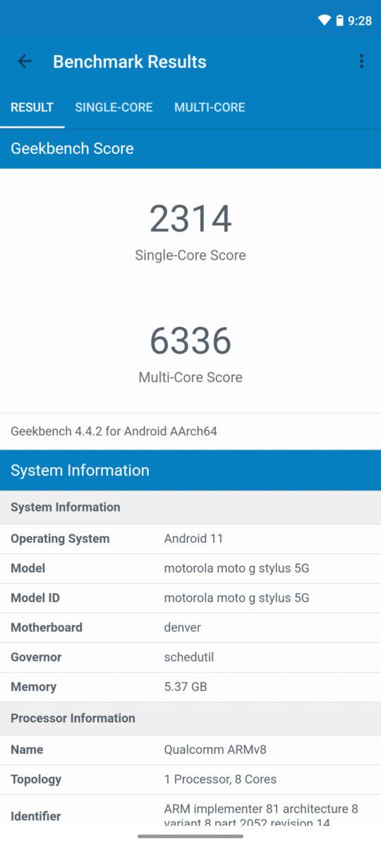 Motorola Moto G Stlyus 5G Geekbench 4