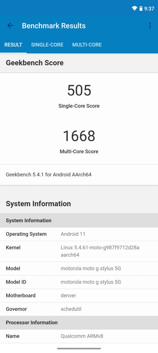 Motorola Moto G Stlyus 5G Geekbench 5