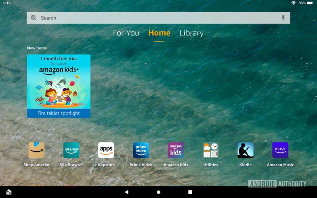 The Amazon Fire HD 10 Plus home screen with Kids+ app suggestion.