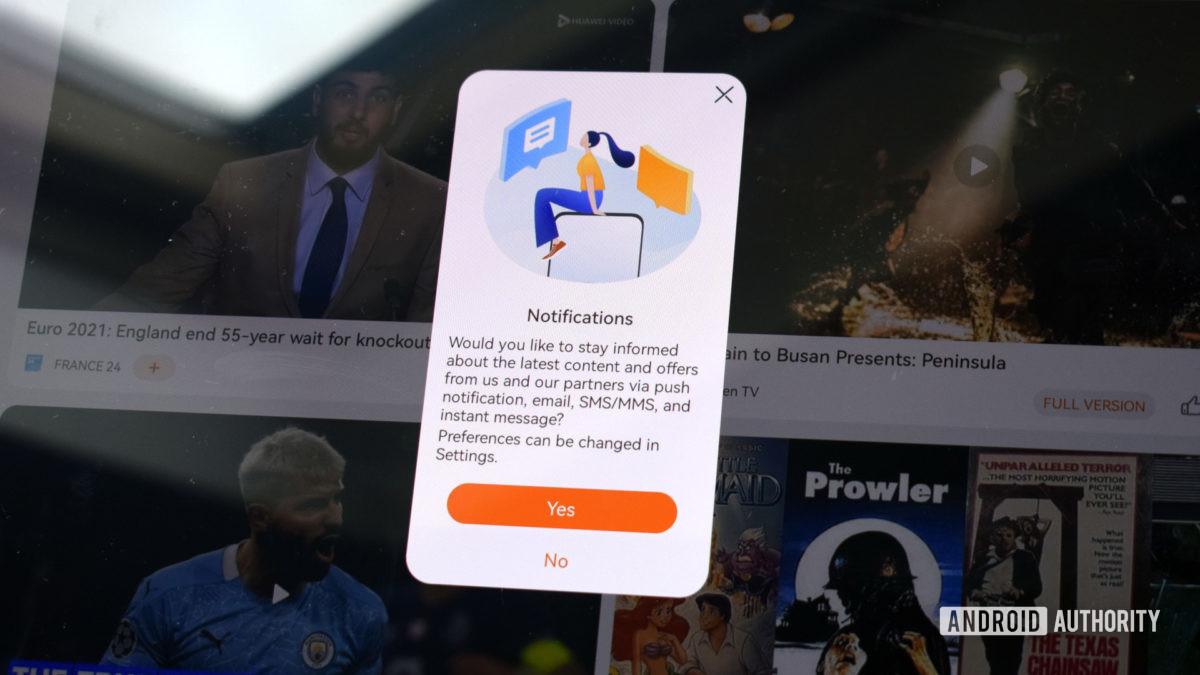 The Huawei MatePad Pro 2021 app notifications.